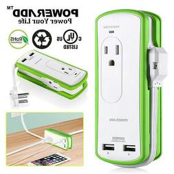 Poweradd 2 Outlet Power Strip Surge Protector Travel Charger