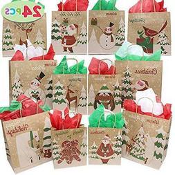 24 Christmas Kraft Gift Bags with Assorted Christmas Prints