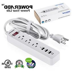 Poweradd 3 Outlet Power Strip Surge Protector with 3 USB Por
