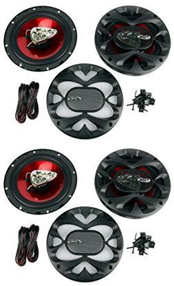 """4) New BOSS CH6530 6.5"""" 3-Way 600W Car Audio Coaxial Speaker"""
