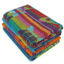 KAUFMAN- PROMO ASSORTED JACQUARD BEACH TOWEL SET of 4PC 30x6