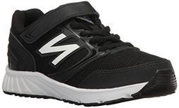New Balance Boys' 455 Running Shoe, Black/White, 1 W Little