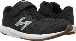 New Balance Girls' 519v1 Hook and Loop Running Shoe, Black/S
