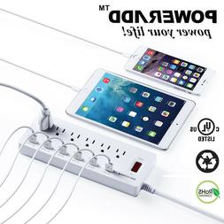 Poweradd 6 Outlet Power Strip 6 USB Charging Port Surge Prot