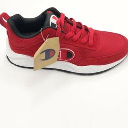 Champion 93 Eighteen Big Mens Red Suede Low Top Lace Up Snea