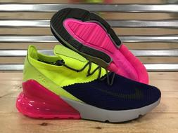 Nike Air Max 270 Flyknit Running Shoes Volt Purple Pink Grey