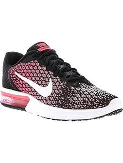 NIKE Womens Air Max Sequent 2 Running Shoes Black/White/Race