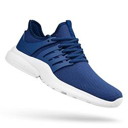 Feetmat Men's Athletic Running Walking Sport Shoes Blue Whit
