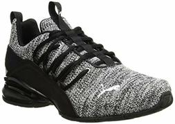 PUMA Men's Axelion Sneaker, Black-White, 9.5 M US