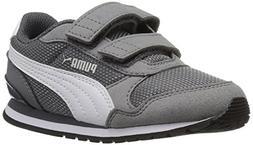 PUMA Baby ST Runner NL Velcro Kids Sneaker, Steel Gray White