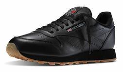 Reebok Classic Leather Black, Gum Mens Running Tennis Shoes