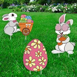 Ivenf Easter Decorations Outdoor, 3ct Bunny Eggs Corrugate Y