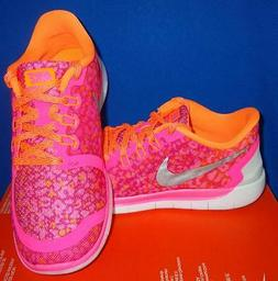 NIKE FREE 5.0 PINK Print Running Shoes Size US 4.5 Youth Big
