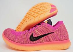 Nike Free RN Flyknit GS Womens Running Shoes Pink Purple Vio