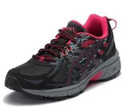 ASICS GEL-Venture 6 Black+Pink Women's Trail Running Shoes C