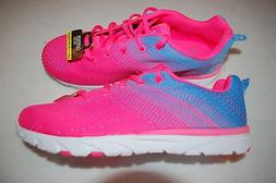 Girls HOT PINK & BLUE ATHLETIC RUNNING SHOES Lt Weight SIZE