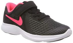 NIKE Girls' Revolution 4  Running Shoe, Black/Racer Pink-Whi