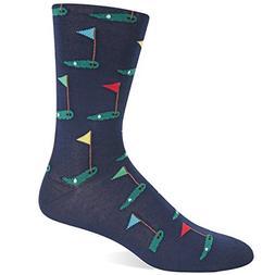 Hot Sox Men's Golf Crew Sock, Navy, Shoe: 10-13