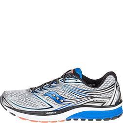 Saucony Men's Guide 9 Running Shoe, Silver/Blue/Orange, 7 M