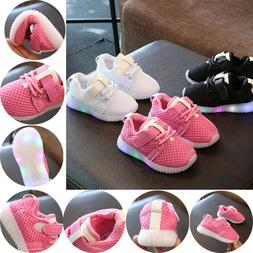 Kids Running Shoes Sneakers LED Light Up Luminous Sport Trai