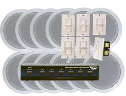 Pyle KTHSP125 6 Room In-Ceiling Home Speaker System w/6 Volu