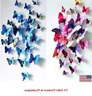 24 Pcs 3D Butterfly Wall Stickers & Magnetic Decals Home Roo
