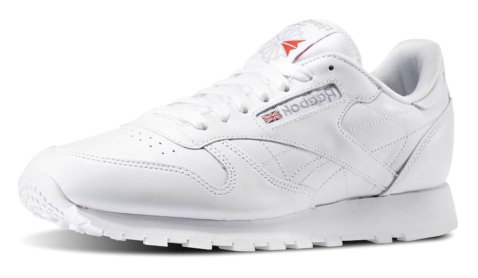 Reebok Classic Leather White, Light Grey Mens Running Tennis