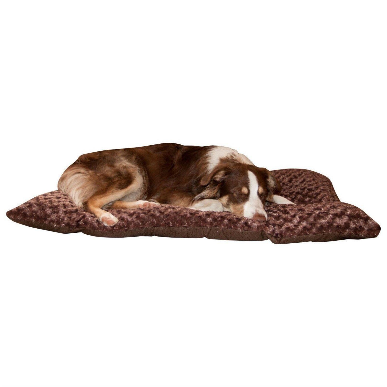 Cushion Pillow Furry Pet Dog Bed Chocolate Large 24 x 36 inc