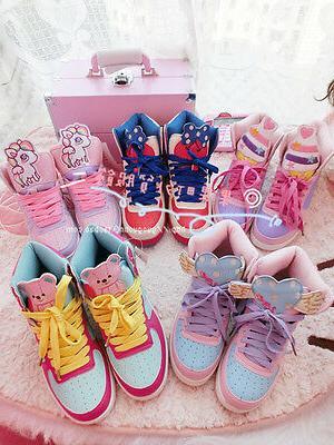 cute harajuku womens sport shoes amo pink