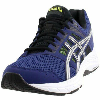 gel contend 5 running shoes blue mens