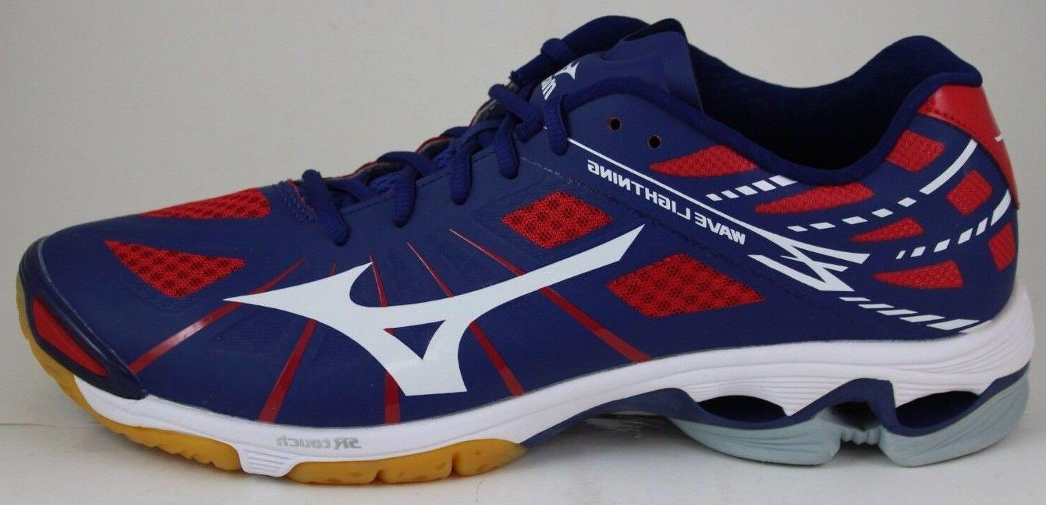 Men's Mizuno Wave Lightning Z Running Shoes Navy/White/Red 4