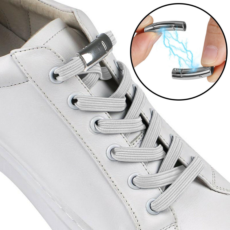 no tie elastic shoelaces magnet buckle shoe