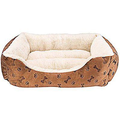 """Rectangle Pet Bed with Dog Cat Paw Printing Size 22"""" x 18"""" S"""