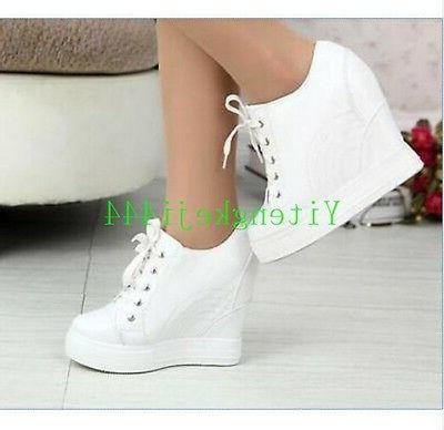 womens hidden wedge heel leather lace up