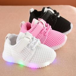 LED Kids Boy Girl Sports Shoes Baby Lights Running Mesh Shoe
