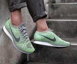 Nike Men's Flyknit Racer Running Shoes  White Green Gray 526