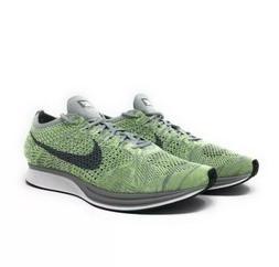 Nike Men's Flyknit Racer Running Shoes Size 11 White Green G
