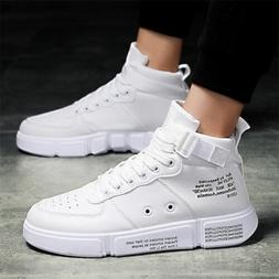 Men's High Top Athletic Shoes Leather Sneakers Outdoor Runni