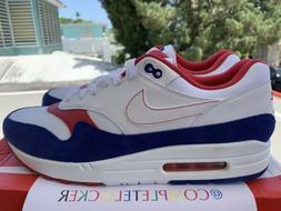 New Nike Air Max 1 White Red Blue USA CJ9927-100 Mens Runnin