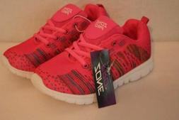 NEW Girls Tennis Shoes Size 2 Pink Lace Up Sneakers Athletic