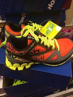 "New Kids Zigtech""Zigkick Trail"" Running Shoes Orange/Gray/Ye"