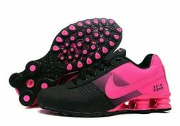 New Women Black and Pink Nike Shox Deliver Athletic Running