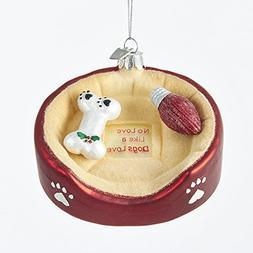 """Kurt Adler 4.25"""" Noble Gems Glass Dog Bed Ornament"""
