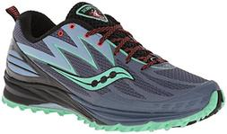 Saucony Women's Peregrine 5 Trail Running Shoe,Grey/Mint/Pur