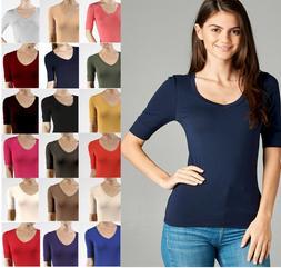 V Neck Elbow Length 3/4 T Shirt Top Active Basic Misses S M