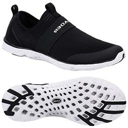 ALEADER Men's Quick-Dry Aqua Water Shoes Black/White 11 D US