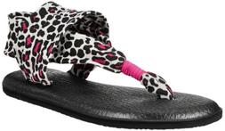Sanuk 'Yoga Sling' Sandal  Black/ Fuchsia Cheetah 3/4 M