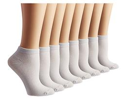 Women's Athletic No Show Running Socks 8 Pack, White, Shoe S