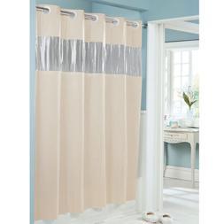 Hookless Shower Curtain, Beige, 71 x 74 Inches, Vinyl, Visio