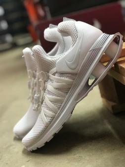 Nike Shox Gravity Mens Triple White Mesh Running Shoes AR199